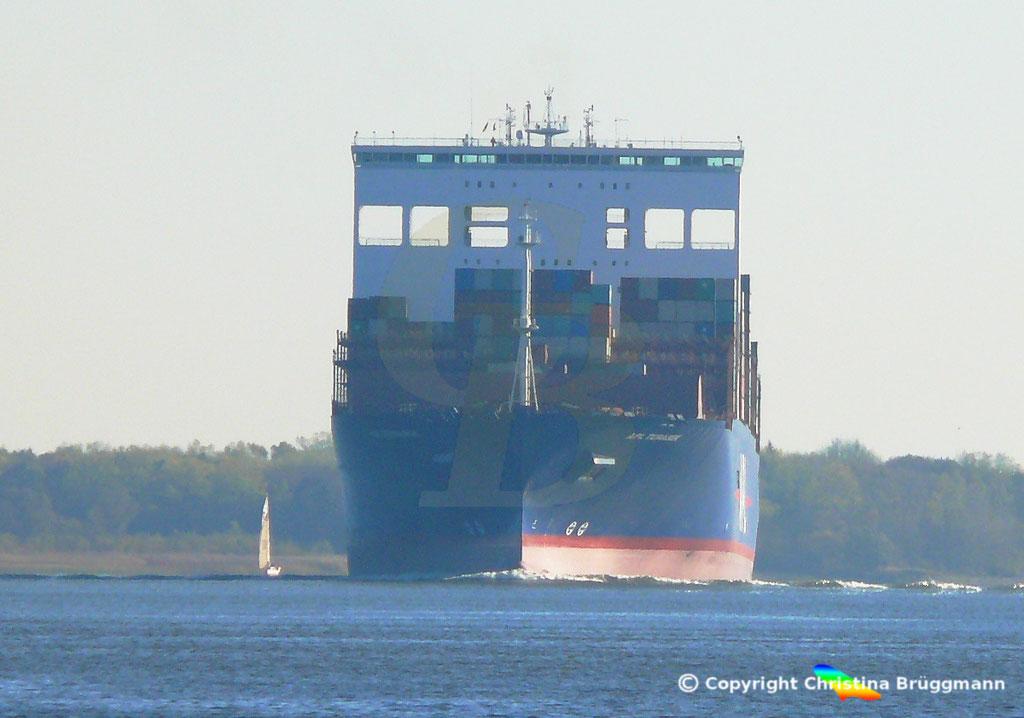 Containerschiff APL TEMASEK, Elbe 03.11.2018, BILD 1