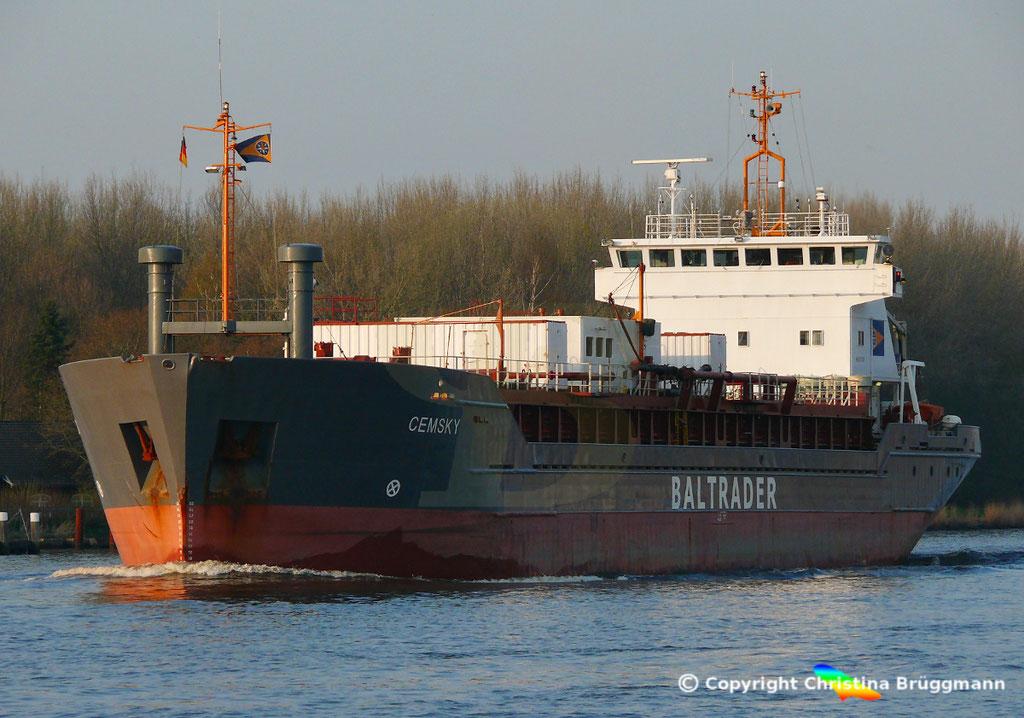 Zementfrachter CEMSKY, Nord-Ostsee-Kanal, 07.04.2029,   BILD 2