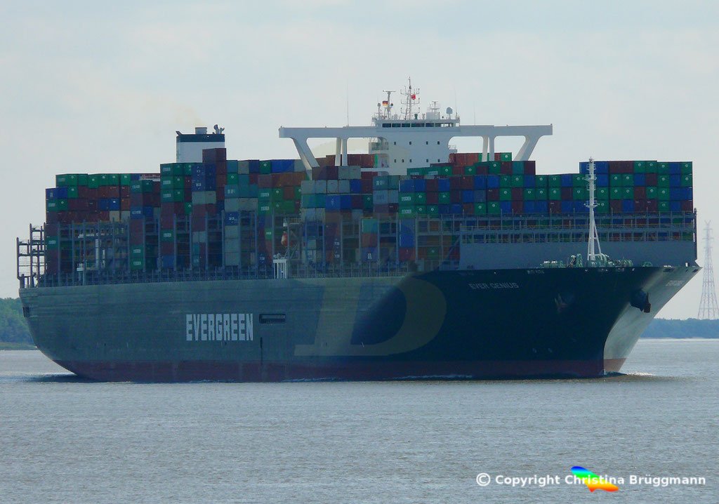 Containerschiff EVER GENIUS, Elbe 14.09.2018, BILD 1
