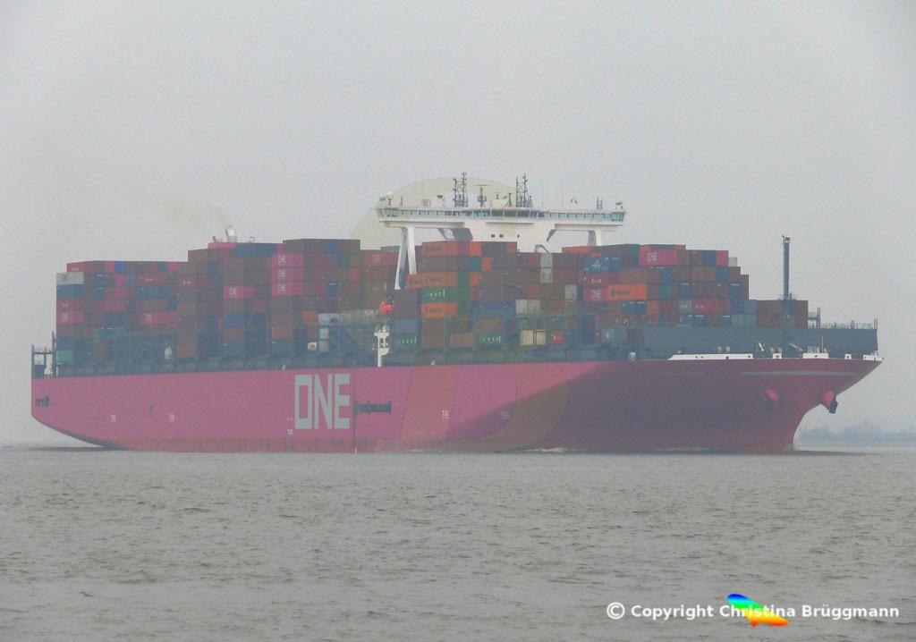 Containerschiff ONE GRUS, Elbe 20.03.2019,  BILD 1