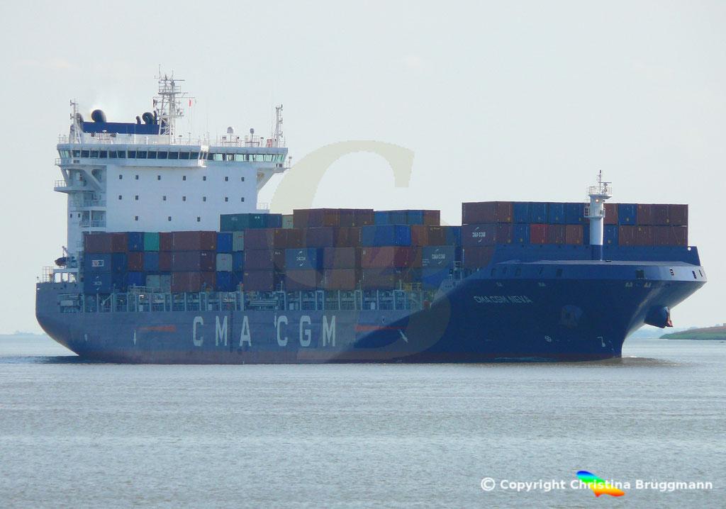 Container-Feeder CMA CGM NEVA, Elbe 04.09.2018,  BILD 2
