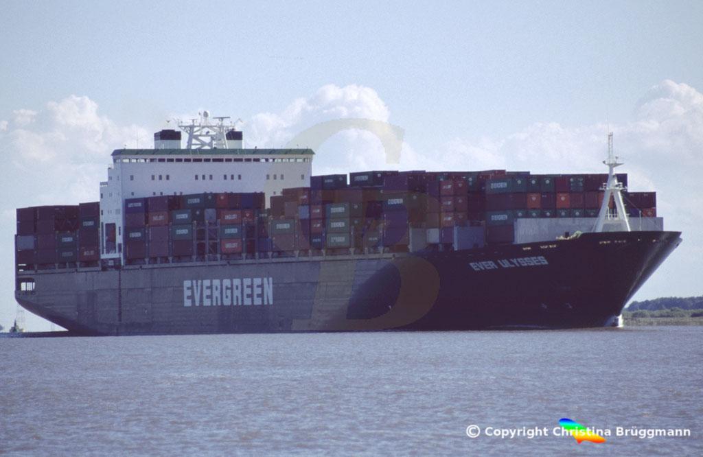 Containerschiff EVER ULYSSES, Elbe 2005,  BILD 1
