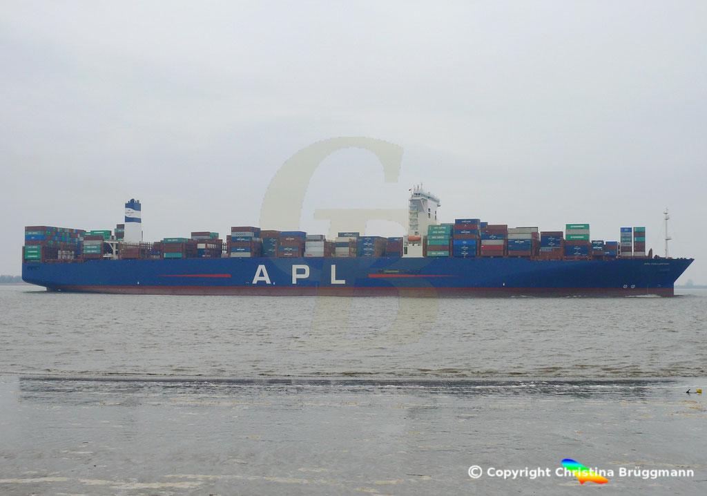 Containerschiff APL FULLERTON, nach Upgrade, Elbe 20.03.2019,  BILD 5