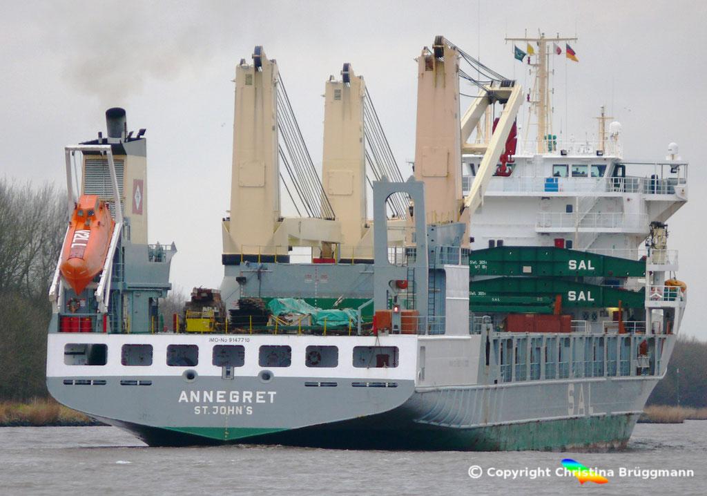 """SAL Heavy Lift Vessel """"ANNEGRET"""" auf dem Nord-Ostsee-Kanal 25.12.2017"""
