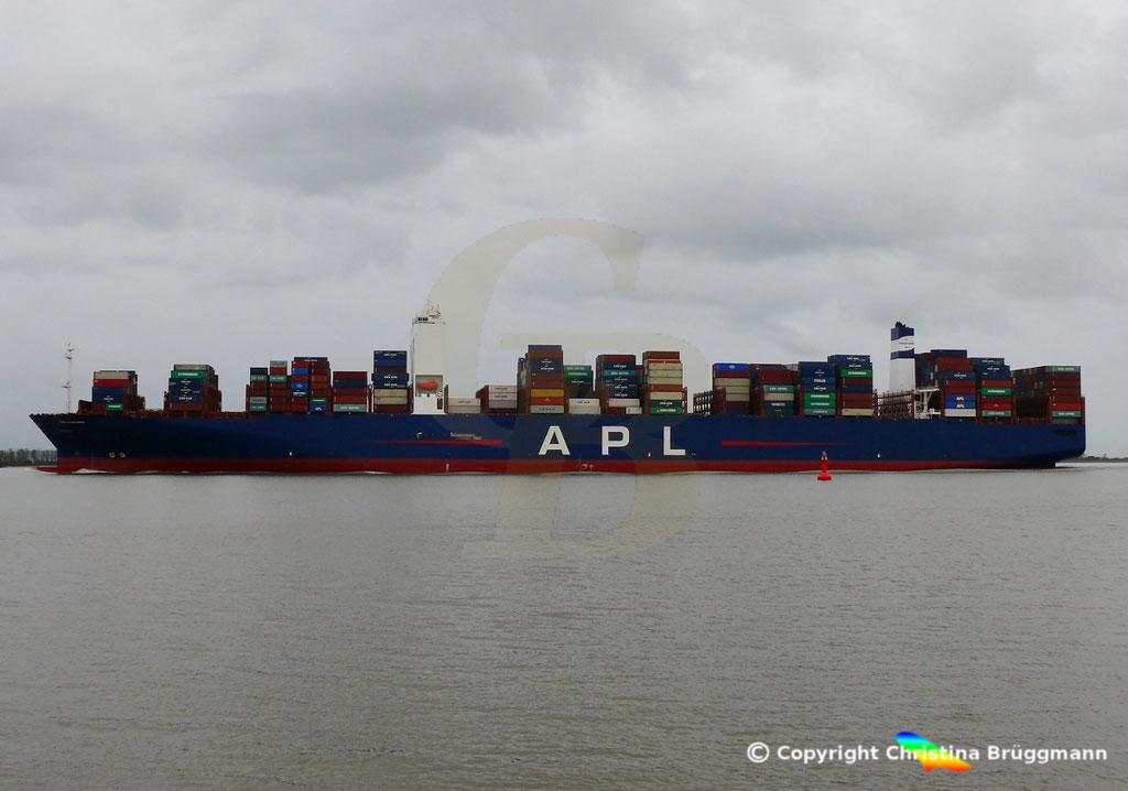 Containerschiff APL CHANGI, nach Verlängerung, Elbe 10.03.2019,  BILD 5