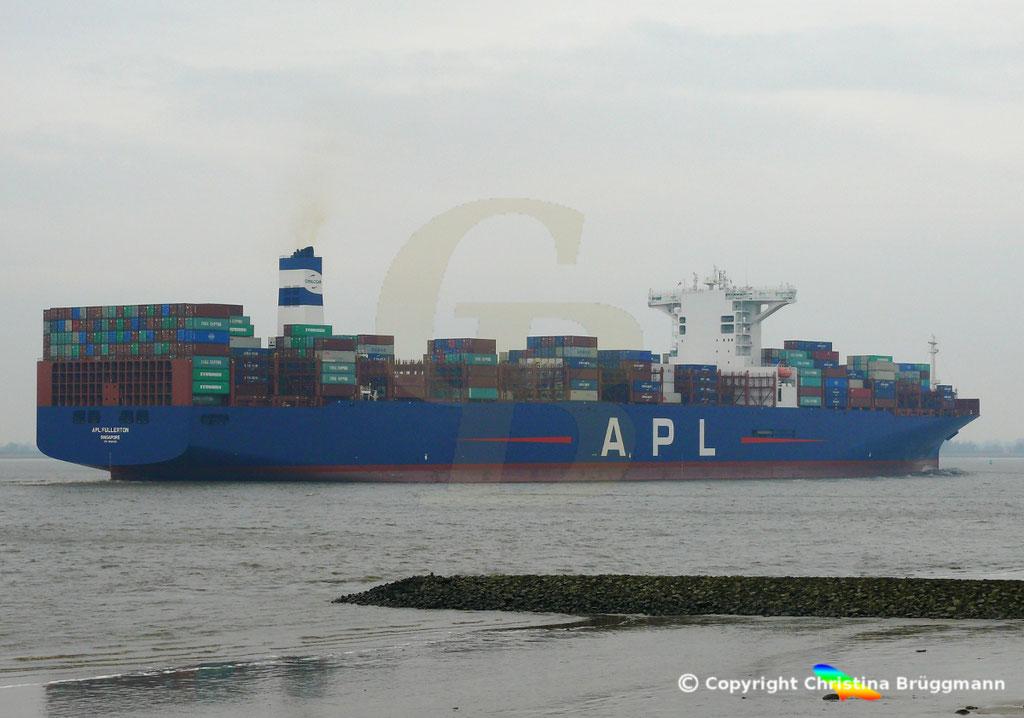 Containerschiff APL FULLERTON, nach Upgrade, Elbe 20.03.2019,  BILD 9