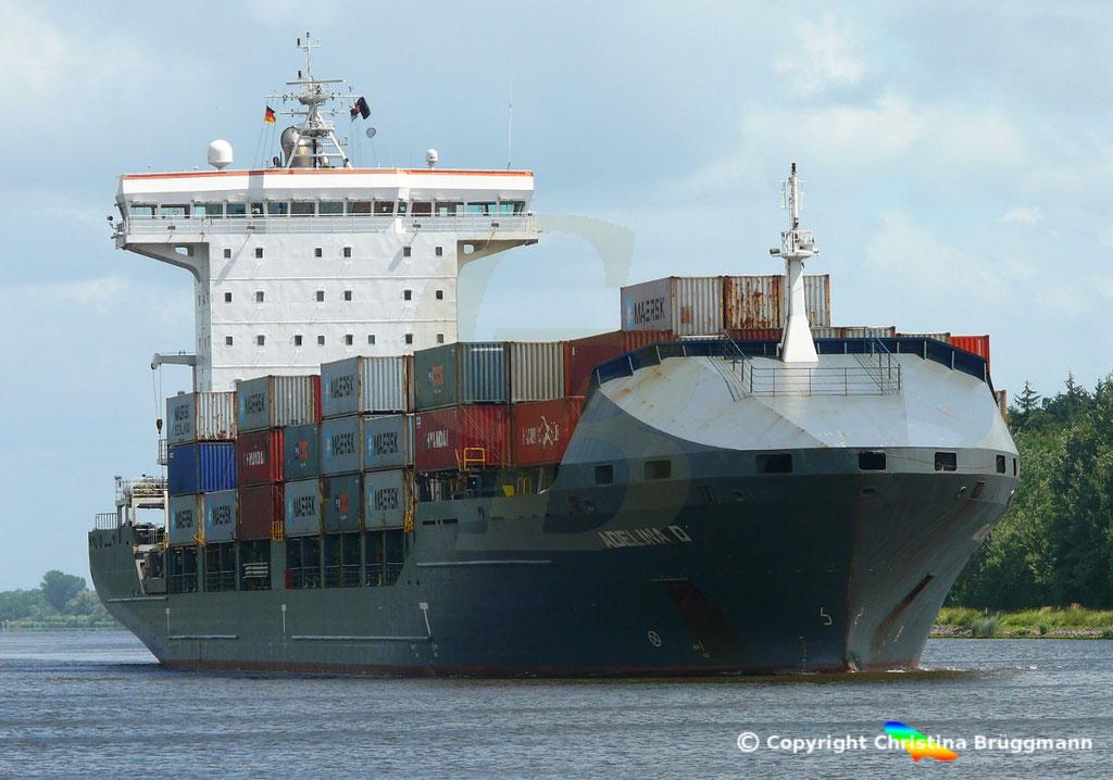 Containerschiff ADELINA D, Nord-Ostsee Kanal 22.06.2018,  BILD 1