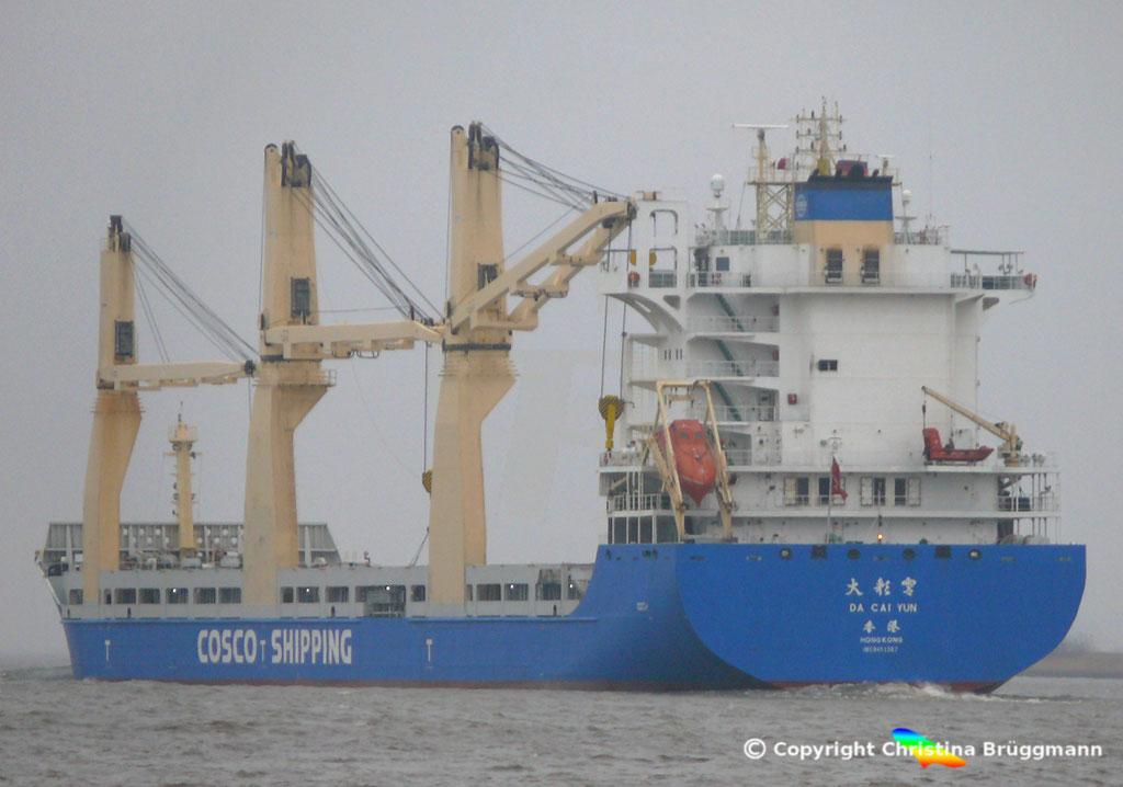 """COSCO SHIPPING MP - Heavy Lift Vessel """"DA CUI YUN"""" auf der Elbe 23.12.2017"""