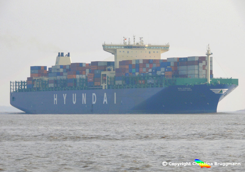 "Containerschiff ""HYUNDAI DRIVE"", Elbe 23.03.2015, BILD 2"