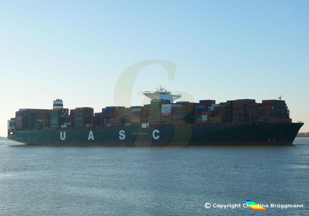 Hapag-Llloyd Containerschiff BARZAN, Elbe 16.02.2019,  BILD 3