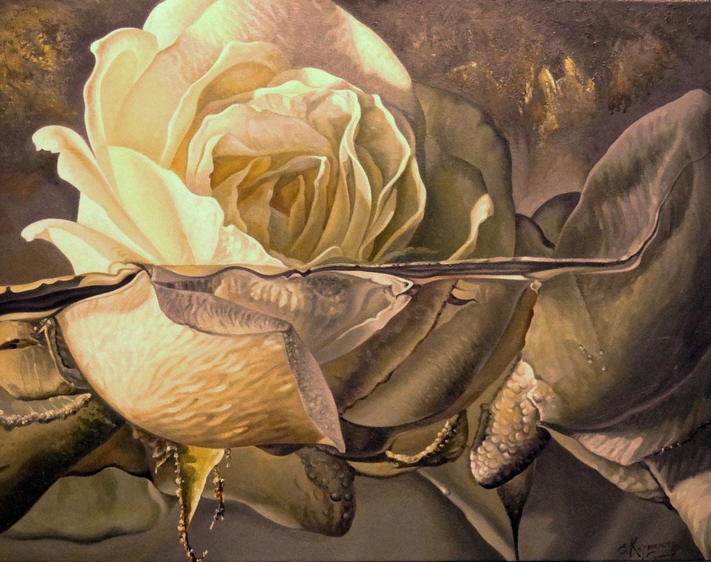 Τριαντάφυλλο στο νερό  κώδικας №116  (70χ90cm)   μη διαθέσιμο- SOLD  λαδι σε μουσαμα