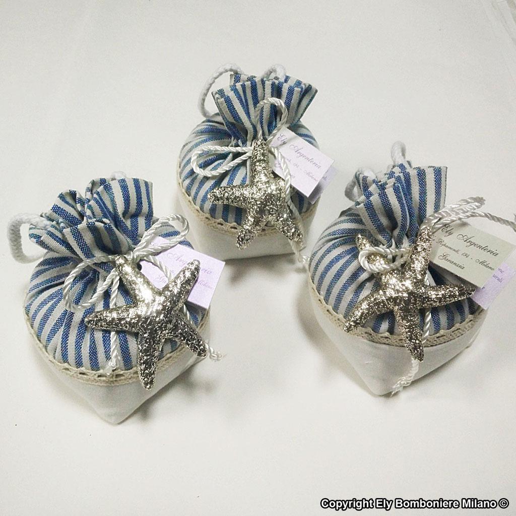 Sacchetti in cotone con stelle marine vere argentate