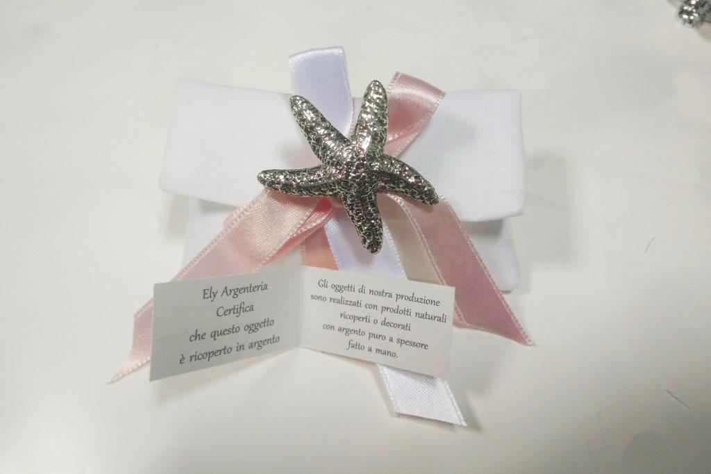 Pochette in puro lino bianco con stella marina vera ricoperta in argento