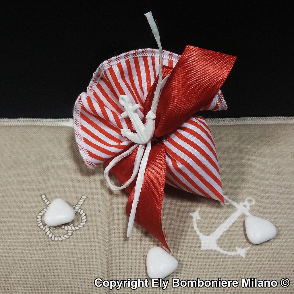 Sacchetto cono in puro cotone con gessetto a forma di ancora