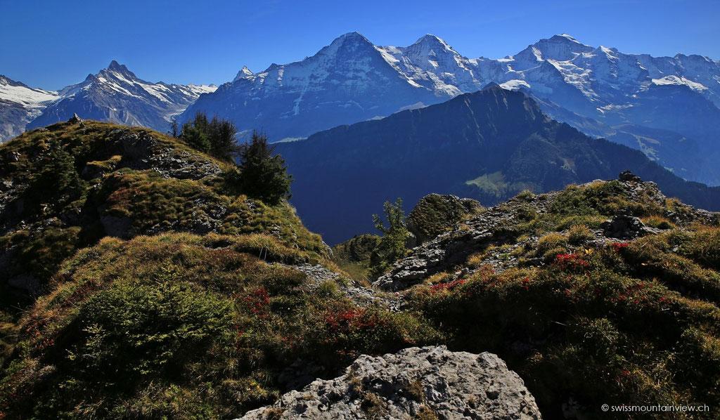 Blick auf Eiger, Mönch und Jungfrau.