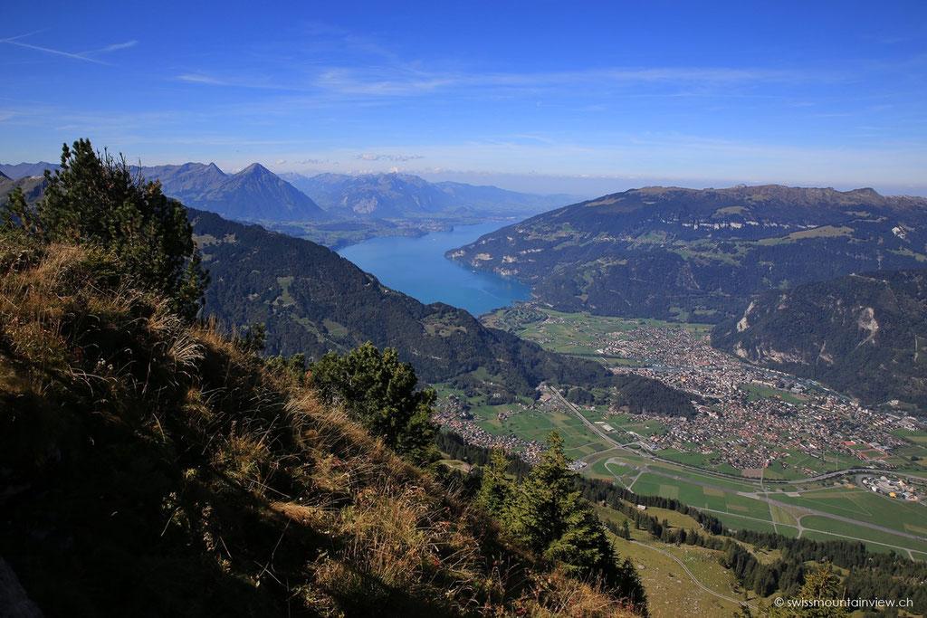 Nach rund 30 Minuten erreichen wir den Aussichtspunkt bei der Daube mit Blick auf den Thuner-
