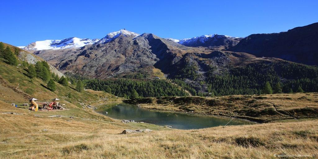 Ein kurzer Blick zum Leisee und dann geht es mit der Bahn wieder zurück nach Zermatt.