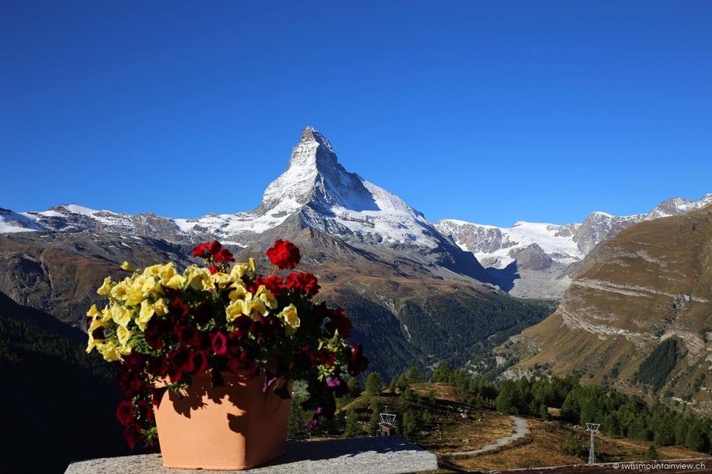 Blick von der Terrasse des Restaurants Sunnegga aufs Matterhorn.