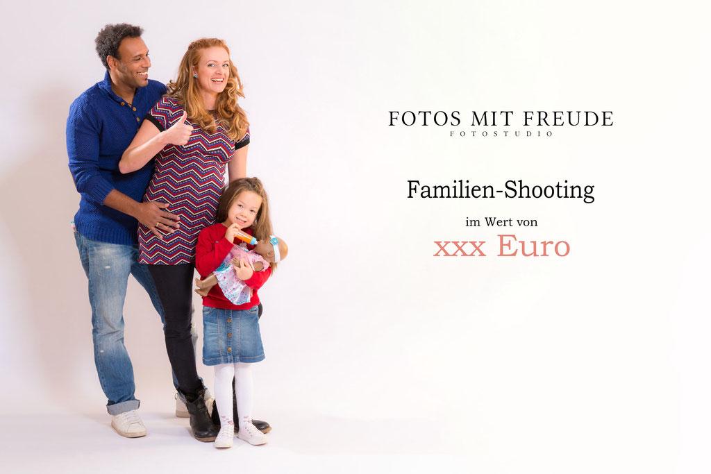 Gutschein für ein Fotoshooting im Fotostudio in Erlangen als Family-Shooting