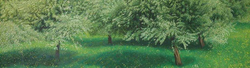 grün, grün, grün | 2017 | 50 x 180 cm | Acryl auf Baumwolle