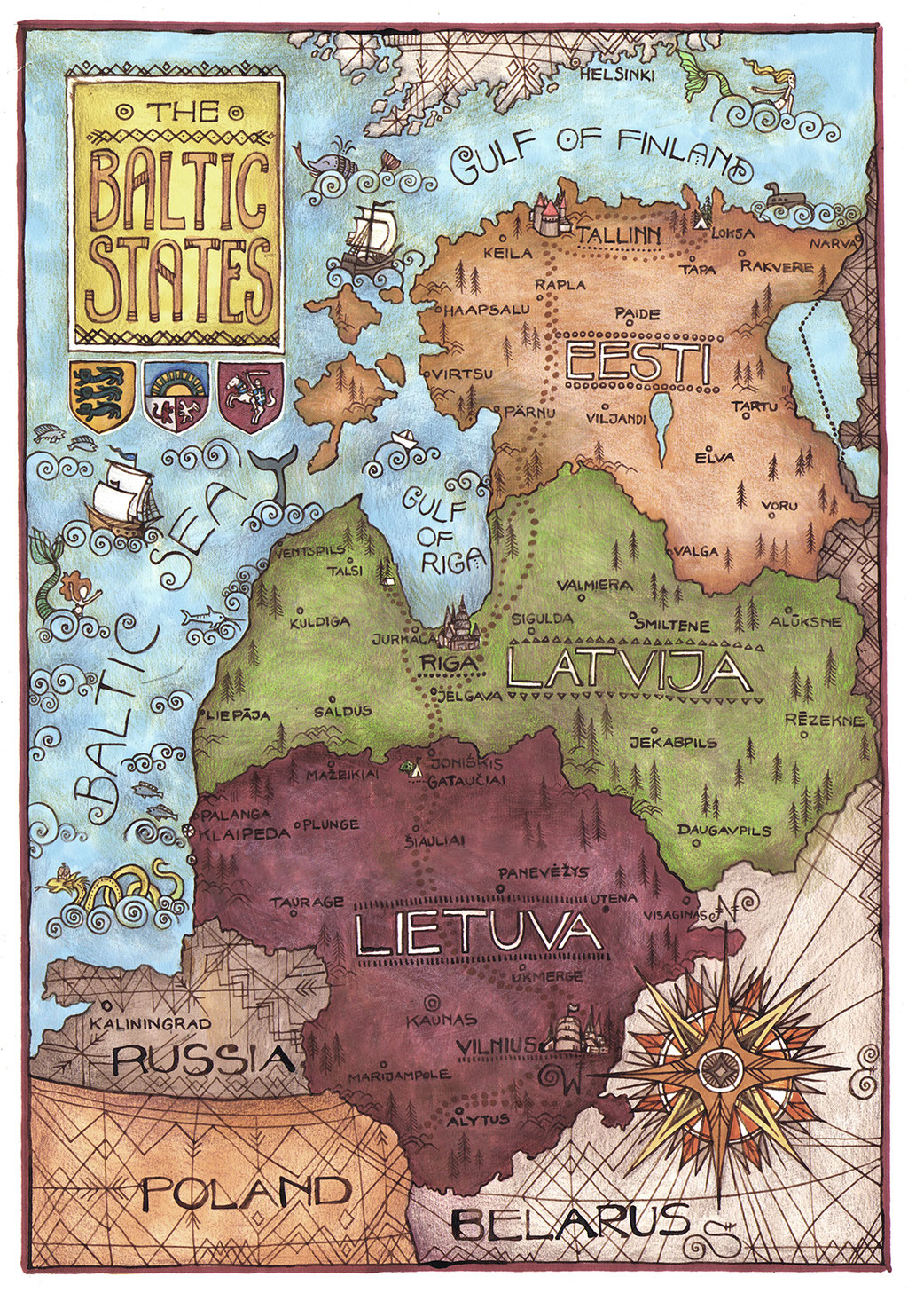 Map of the Baltic States. Markers, coloured pencils and ink, 2017