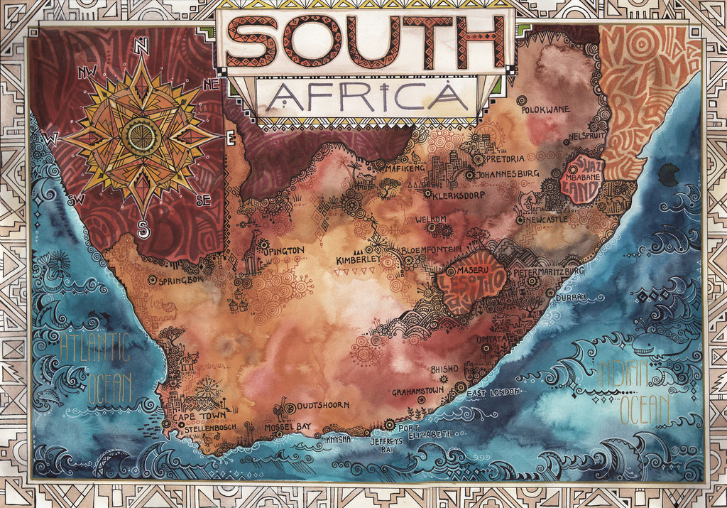 Map of South Africa. Watercolours & fineliner, 2016