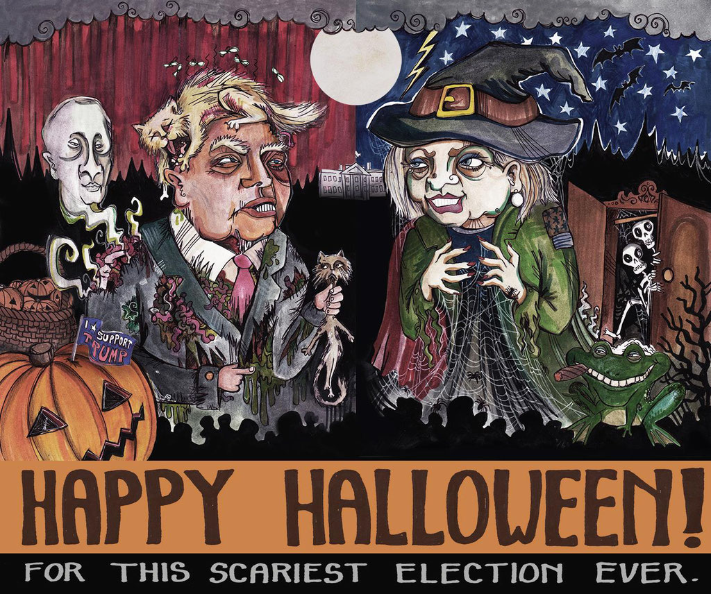 """Happy Halloween for this scariest election season ever"", markers and fineliner, 2016"