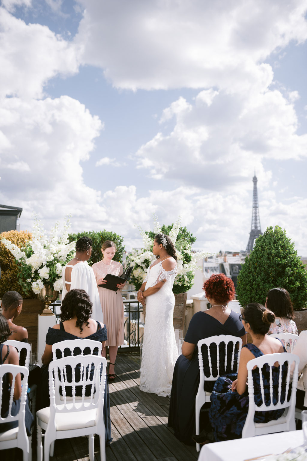 intimate rooftop wedding in Paris