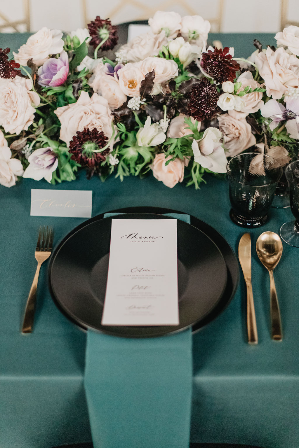 green black and gold wedding table set-up