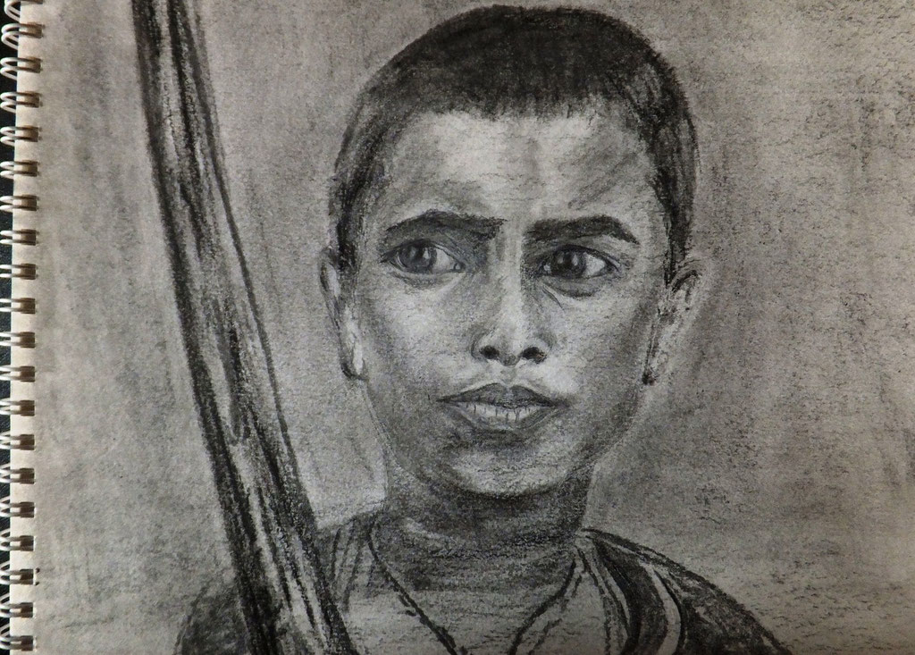 Bhaktapur 2. Fusain , crayon, pastel  sur papier 21  x 29,7  par B C Ruiz ,d'après photo personnelle. Encadrement à la demande