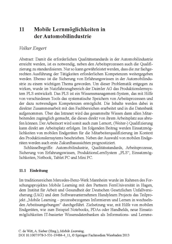 Seite 1: Mobile Lernmöglichkeiten in  der Automobilindustrie