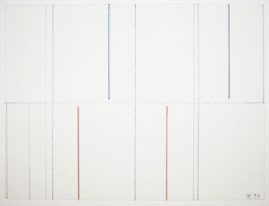 <b>19.4.97</b><br> 1997, Mischtechnik auf Papier, <br>30 x 40 cm