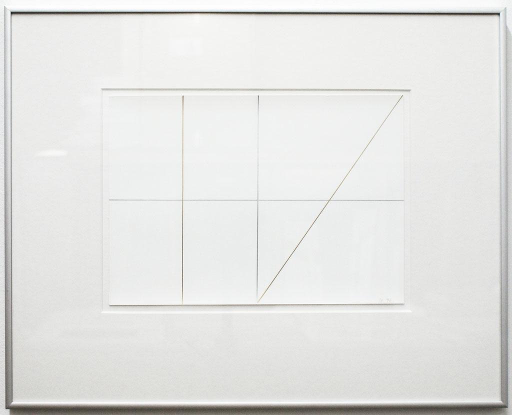 <b>o. T., 14.11.96</b><br> 1996, Silberstift, Goldstift auf Papier, <br>21 x 29,5 cm