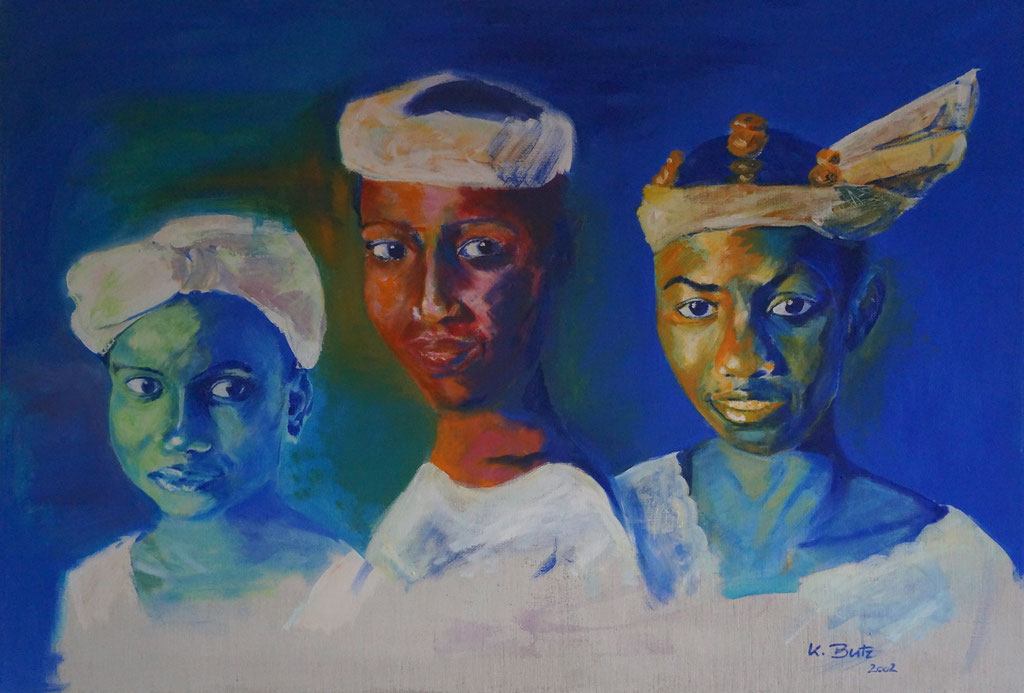 Afrikanische Fauen, 2002, Acryl auf Leinwand