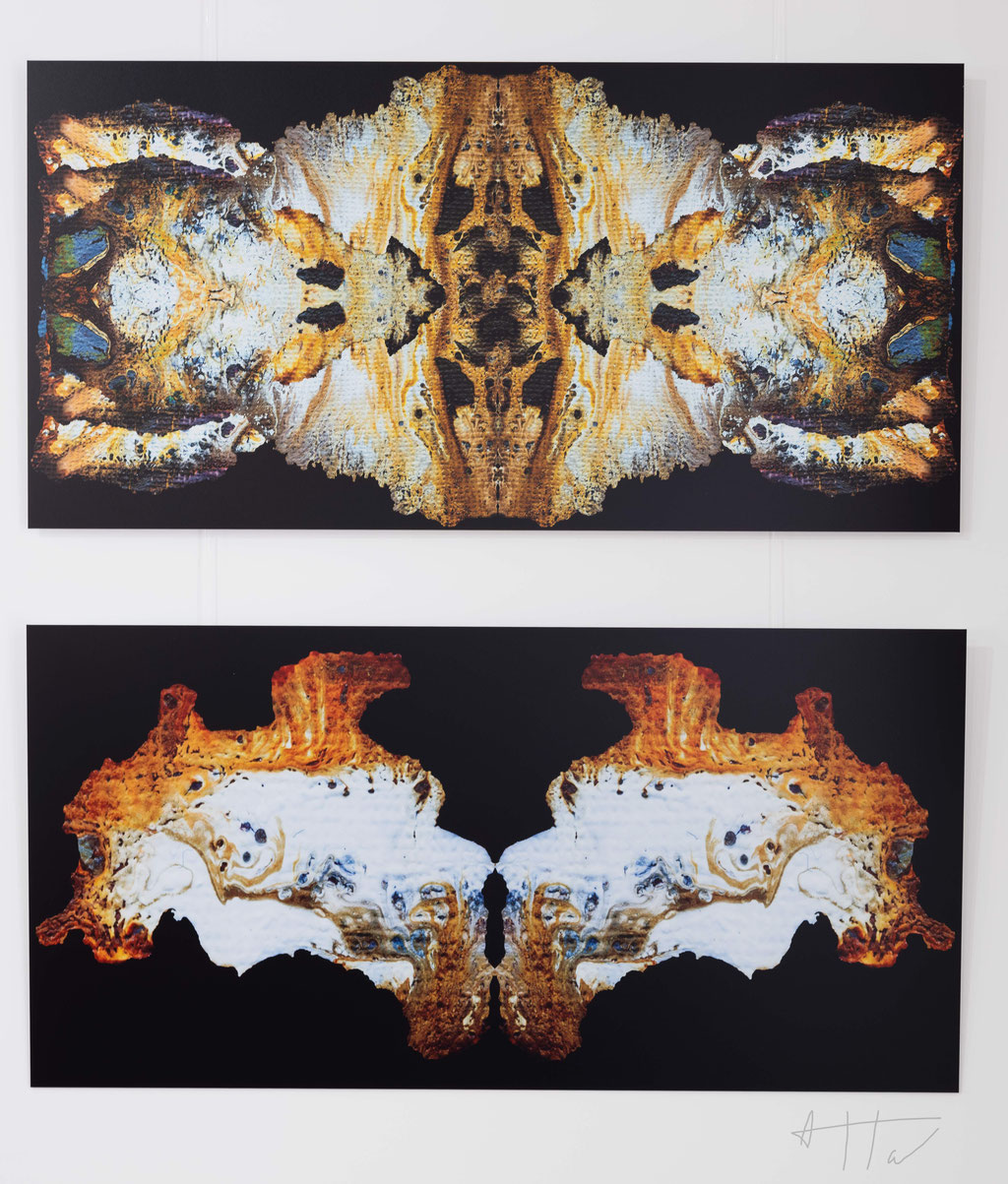 Skullpture (top), Les sentinelles (bottom), aluminium dibond, 50 cm x 100 cm, series of 5 prints + 2 AP (each artwork).