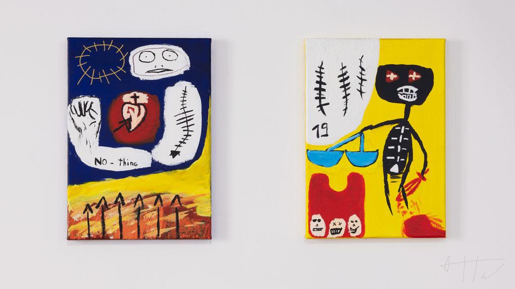 Lost Soul (left), Azraël (right), acrylic paint on canvas, 42 cm x 30 cm, unique.