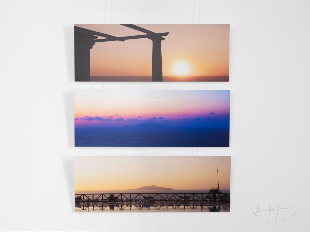 From top to bottom: Vue de Capri #1,#2,#3.  aluminium dibond, 26 cm x 70,43 cm, series of 5 prints + 2 AP (each artwork).