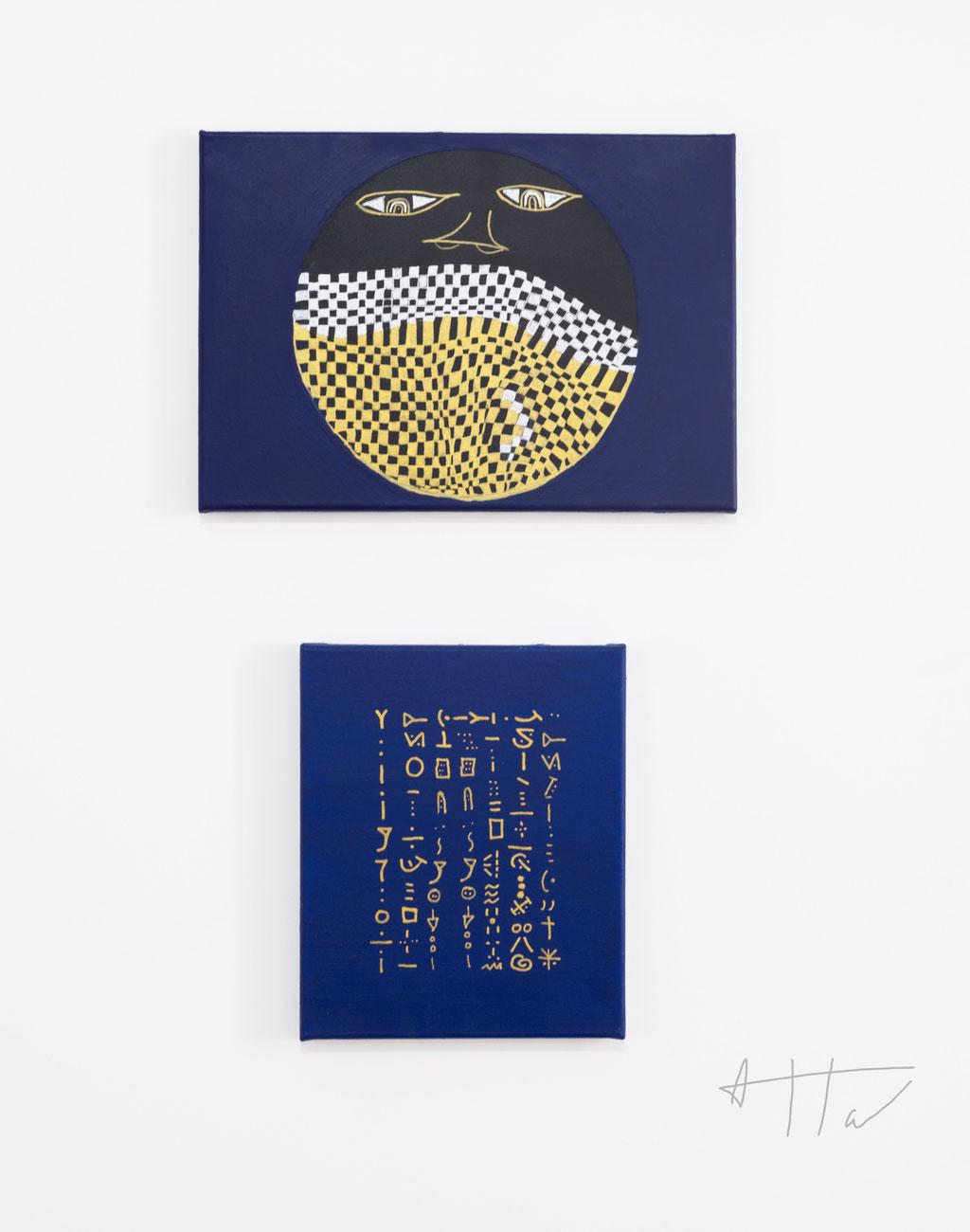 Untitled #16 (top) 30 cm x 42 cm, Digitology #1 (bottom) 31 cm x 26 cm, acrylic paint on canvas, unique.
