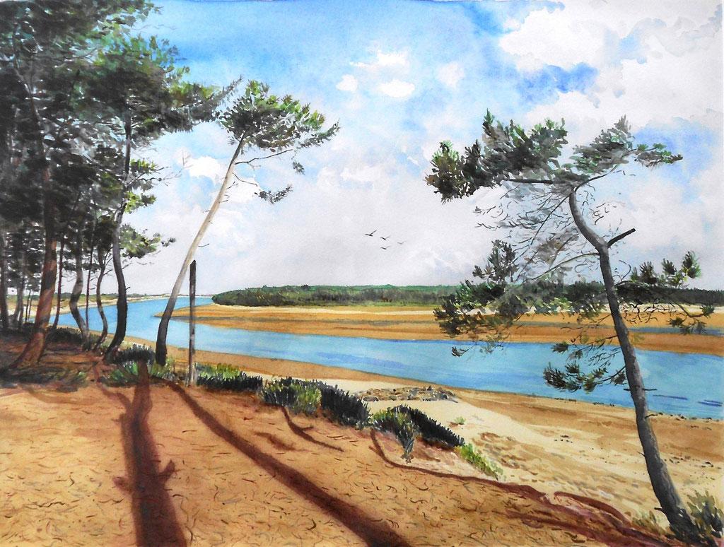 Vendée, la plage du Veillon - aquarelle - 75 x 60