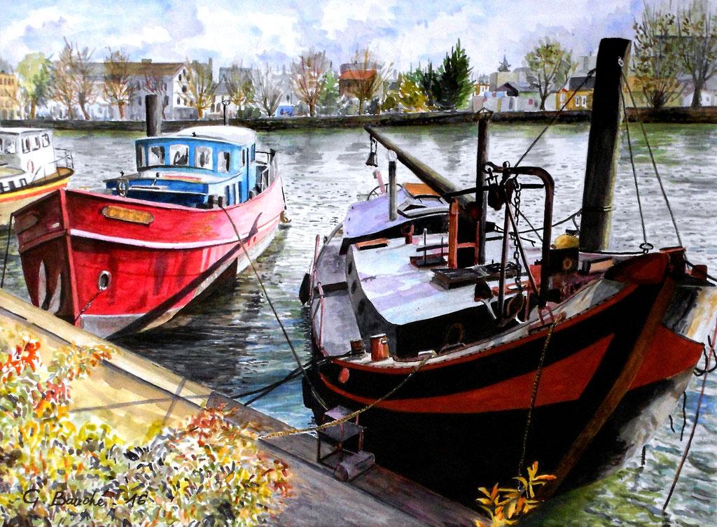 Les bateaux du port de Joinville - aquarelle - 60 x 50
