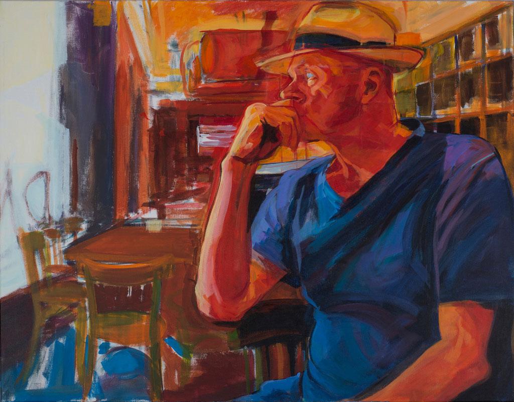 Hanjo at the Hispana. Acrylic on canvas. 100 x 81cm.