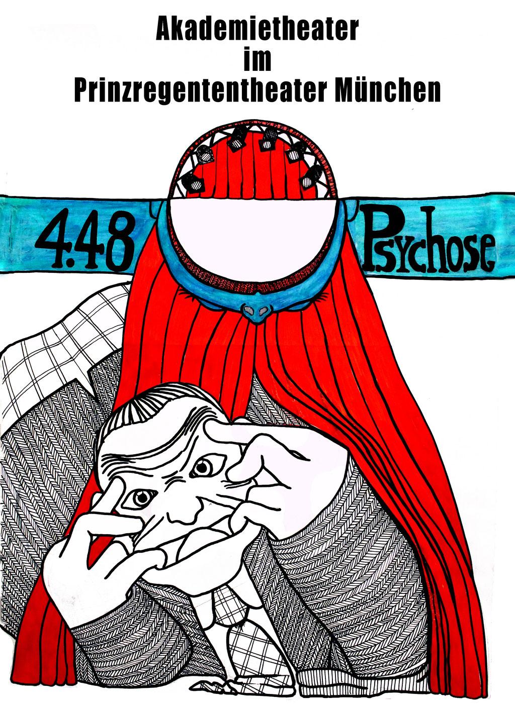 Plakat von Teresa Katharina für 2013 Bühne & Kostüm. '4.48 Psychose' Regie: Levin Handschuh | Bühne, Kostüm & Licht: Teresa Katharina | August Everding Akademie | MÜNCHEN
