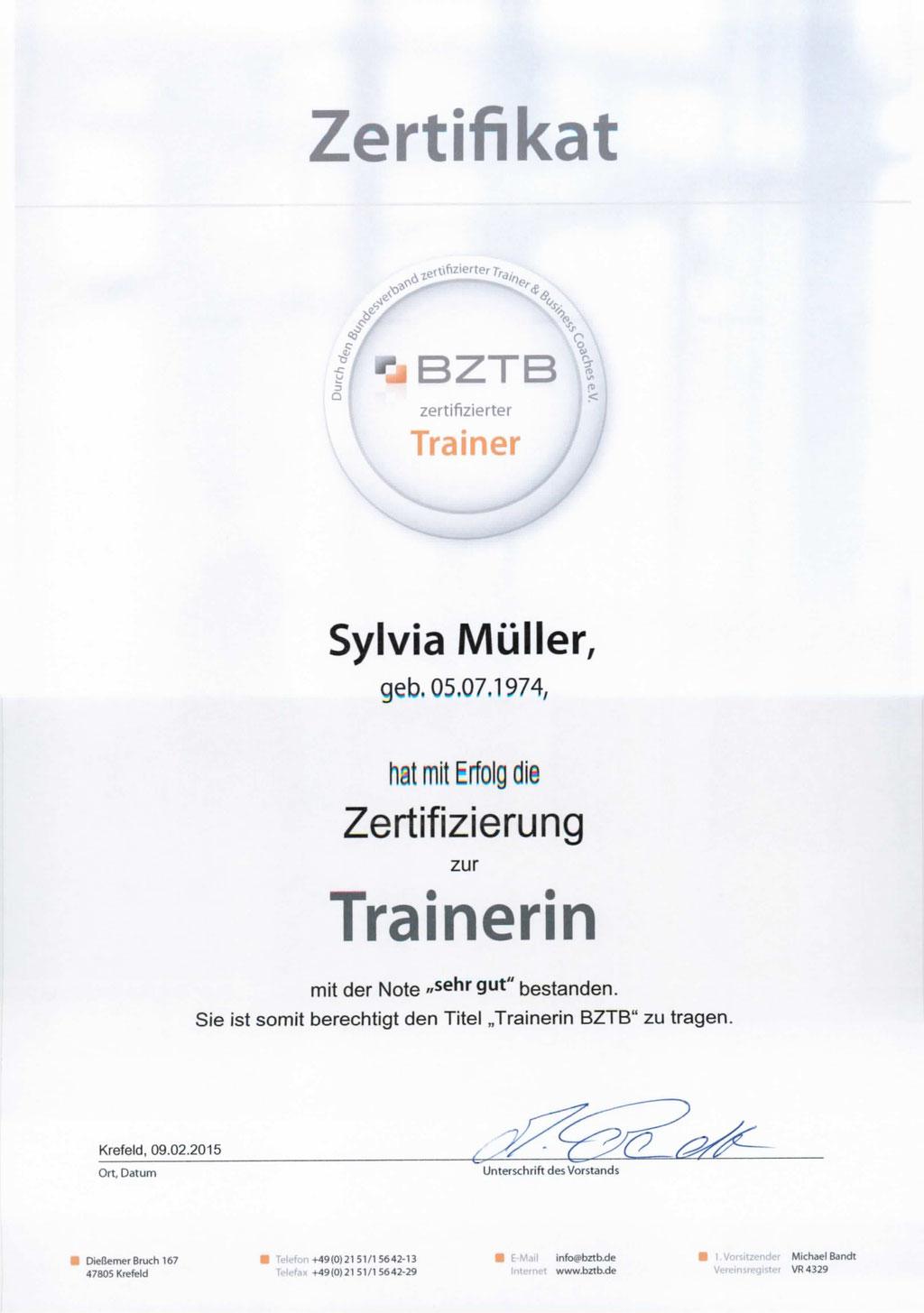 Trainerzertifikat BZTB