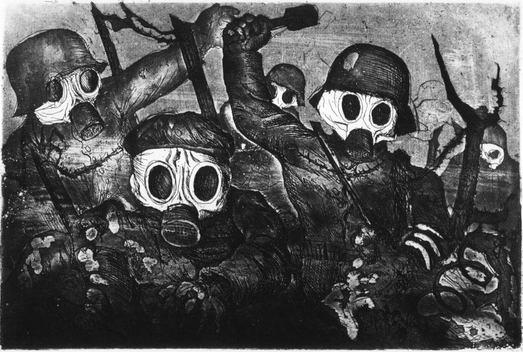 """Otto Dix' """"Sturmtruppe geht unter Gas vor"""""""