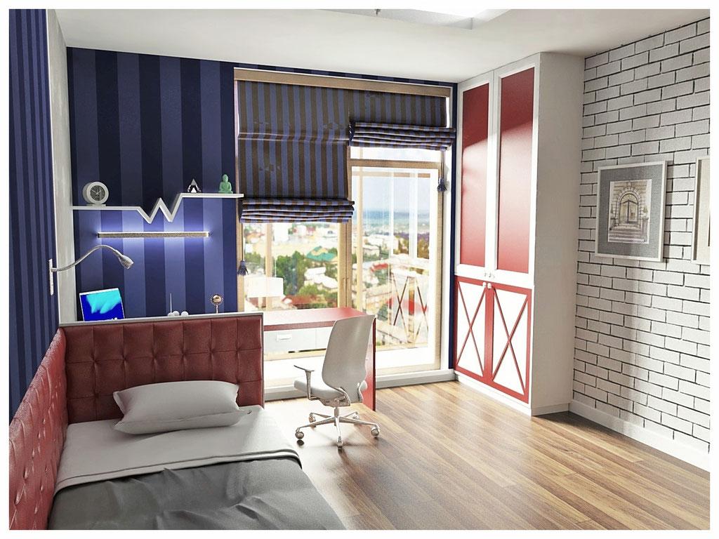 Дизайн интерьеров квартиры в эклектике. Детская 1.