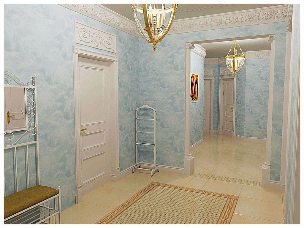Дизайн интерьеров квартиры в дворцовом стиле. Холл .