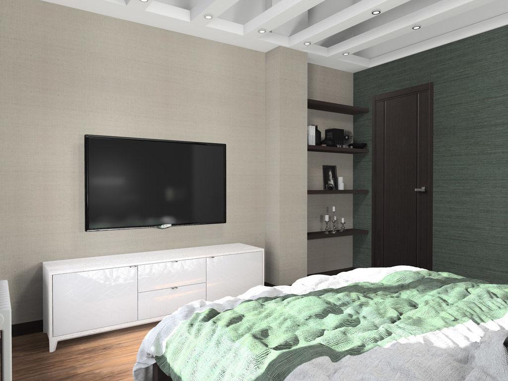 Визуализация потолка в интерьере малой спальни