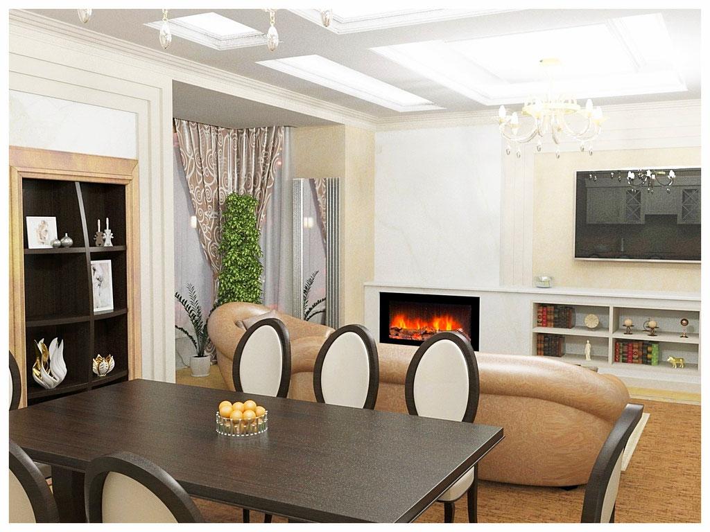 Дизайн интерьеров квартиры в эклектике. Гостиная-кухня 1.