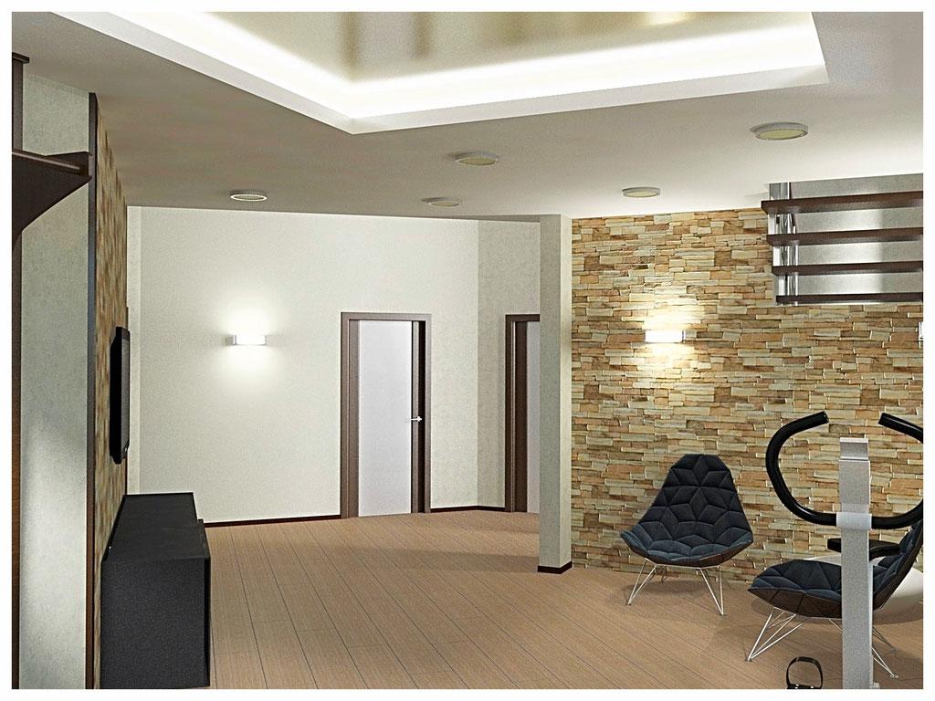 Дизайн интерьеров дома. Холл второго этажа вид 2.
