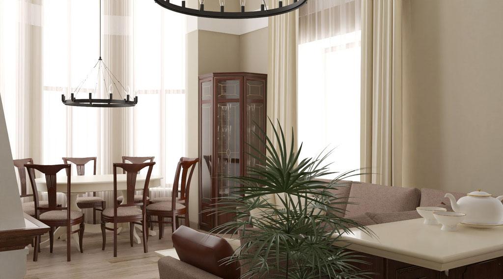 Дизайн интерьеров коттеджа с эркером